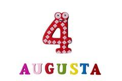 4 augustus Beeld van 4 Augustus, close-up van getallen en letters op witte achtergrond Stock Afbeeldingen