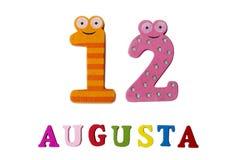 12 augustus Beeld van 12 Augustus, close-up van getallen en letters op witte achtergrond Stock Afbeelding