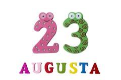 23 augustus Beeld van 23 Augustus, close-up van getallen en letters op witte achtergrond Royalty-vrije Stock Fotografie