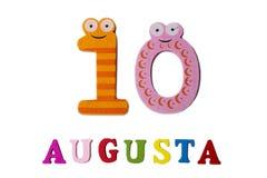 10 augustus Beeld van 10 Augustus, close-up van getallen en letters op witte achtergrond Royalty-vrije Stock Afbeeldingen