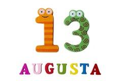 13 augustus Beeld van 13 Augustus, close-up van getallen en letters op witte achtergrond Royalty-vrije Stock Foto