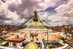 18 augustus, 2014 - Boudhanath-Tempel in Katmandu, Nepal Royalty-vrije Stock Fotografie