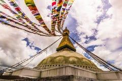 18 augustus, 2014 - Boudhanath-Tempel in Katmandu, Nepal Stock Fotografie