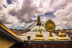 18 augustus, 2014 - Boudhanath-Tempel in Katmandu, Nepal Royalty-vrije Stock Afbeelding