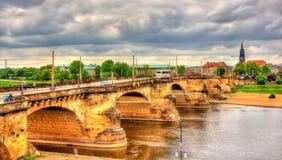 Augustus Bridge - Augustusbrucke over the River Elbe in Dresden Royalty Free Stock Photo