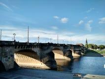 Augustus Bridge, Dresda fotografia stock
