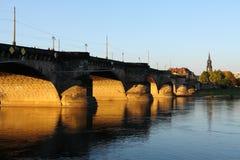 Augustus Bridge Dresda fotografia stock