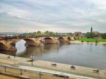 Augustus Bridge in Dresden Stock Photo