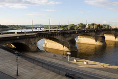 The Augustus bridge over Elbe river in Dresden, Germany Royalty Free Stock Images