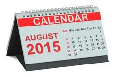 Augustus 2015, bureaukalender Royalty-vrije Stock Afbeelding