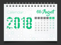Augustus 2018 Bureaukalender 2018 Stock Afbeelding