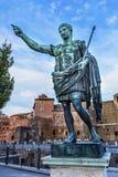 Augustus Caesar Statue Trajan Market Rome Italy Stock Photo