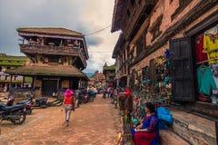 18 augustus, 2014 - Centrum van Bhaktapur, Nepal Stock Afbeelding