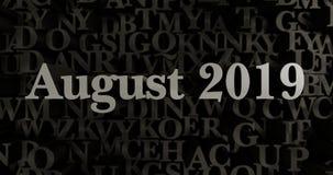Augustus 2019 - 3D teruggegeven metaal gezette krantekopillustratie Royalty-vrije Stock Foto's