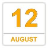 12 augustus Dag op de kalender Stock Afbeelding