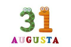 31 augustus een beeld vanaf 31 Augustus, close-up van getallen en letters op een witte achtergrond Stock Afbeelding