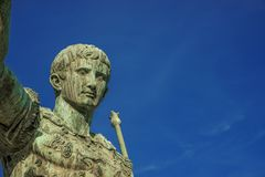 Augustus emperor of Rome. Caesar Augustus, first emperor of Ancient Rome. Old bronze statue in the Imperial Forum with copy space stock image
