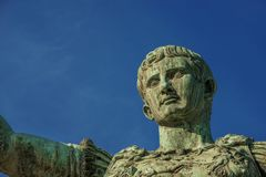 Augustus emperor of Rome. Caesar Augustus, first emperor of Ancient Rome. Old bronze statue in the Imperial Forum, seen from below stock images
