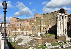 Augustus Forum in the center of Rome. Ruins of the huge and ancient Forum of emperor Augustus Stock Photo
