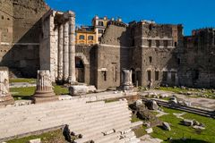 The Augustus Forum (Foro di Augusto) near the Roman Forum in Rom. E, Italy Stock Photo