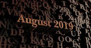 Augustus 2019 - Houten 3D teruggegeven brieven/bericht Royalty-vrije Stock Fotografie