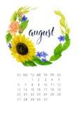 Augustus-kalender Royalty-vrije Stock Foto