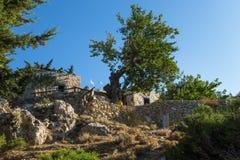 26 augustus 2017 - Kos-eiland, Dodecanese, Griekenland - Herberg en cafetaria bouwde de heuvel onder het bos in oude Pili in vill Royalty-vrije Stock Fotografie