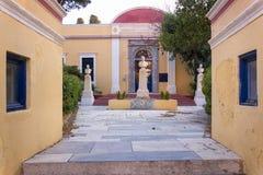24 augustus 2017 - Leros eiland, Griekenland - Architectuur in Leros eiland Royalty-vrije Stock Fotografie