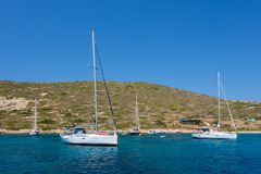 24 augustus 2017 - Leros eiland, Griekenland - Verbazend landschap in Leros eiland, Griekenland Stock Afbeeldingen
