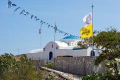 23 augustus 2017 - Lipsi-eiland, Griekenland - de kerk van Panagia Charou in Lipsoi-eiland, Dodecanese, Griekenland Royalty-vrije Stock Afbeelding
