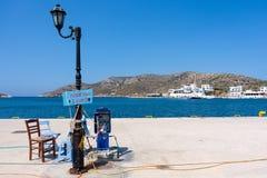 23 augustus 2017 - Lipsi-eiland, Griekenland - de schilderachtige haven van Lipsi-eiland, Dodecanese, Griekenland Stock Fotografie