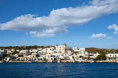 24 augustus 2017 - Lipsi-eiland, Griekenland - de schilderachtige haven van Lipsi-eiland, Dodecanese, Griekenland Royalty-vrije Stock Afbeelding