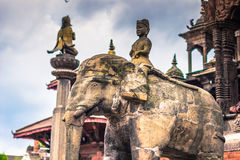 19 augustus, 2014 - Olifantsstandbeeld in Patan, Nepal Royalty-vrije Stock Afbeeldingen