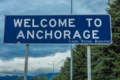 25 AUGUSTUS, 2016 - Onthaal aan Anchorage, Alaska Royalty-vrije Stock Afbeelding
