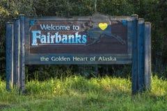 25 AUGUSTUS, 2016 - Onthaal aan Fairbanks, Alaska - het Gouden Hart van Alaska Stock Foto's