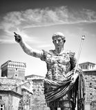 Augustus: the roman emperor. A statue of Augustus, the Roman emperor. Black and white photo Stock Images