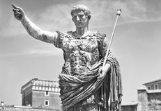 Augustus: the roman emperor. A statue of Augustus, the roman emperor. Black and white photo Stock Photo