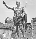 Augustus: the Roman emperor. A statue of Augustus, the Roman emperor. Black and white photo stock image
