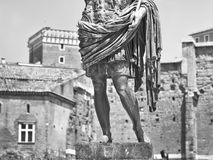 Augustus: the roman emperor. A statue of Augustus, the roman emperor. Black and white photo Stock Photography