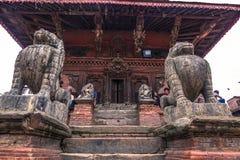 18 augustus, 2014 - Standbeeld van aap in Patan, Nepal Royalty-vrije Stock Afbeeldingen