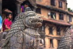 18 augustus, 2014 - Standbeeld van aap in Patan, Nepal Royalty-vrije Stock Foto's