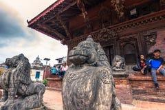 18 augustus, 2014 - Standbeeld van aap in Patan, Nepal Stock Afbeeldingen