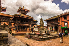 18 augustus, 2014 - Tempel van Bhaktapur, Nepal Stock Afbeeldingen
