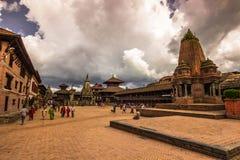 18 augustus, 2014 - Tempels van Bhaktapur, Nepal Royalty-vrije Stock Afbeeldingen