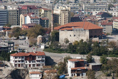 Augustus Temple & Hacı Bayram Mosque. City view including Augustus Temple with Hacı Bayram Mosque at background in Ankara, Turkey Stock Image
