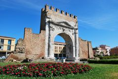 Augustus' triumph arch, Rimini, Italy. Augustus' triumph arch, historical famous roman landmark, Rimini, Italy Royalty Free Stock Photo