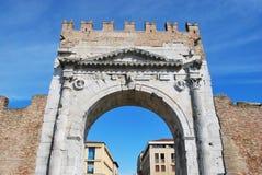 Augustus' triumph arch, Rimini, Italy. Augustus' triumph arch detail, historical famous roman landmark, Rimini, Italy Royalty Free Stock Photos