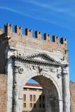 Augustus' triumph arch, Rimini, Italy. Augustus' triumph arch detail, historical famous roman landmark, Rimini, Italy Stock Photos