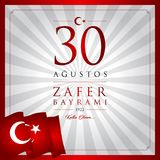30 Augustus, Victory Day Turkey-vieringskaart Vector Illustratie
