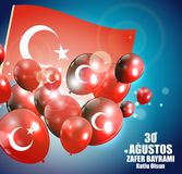 30 augustus, Victory Day Turkish Speak 0 Agustos, Zafer Bayrami Kutlu Olsun Vector illustratie Stock Foto's
